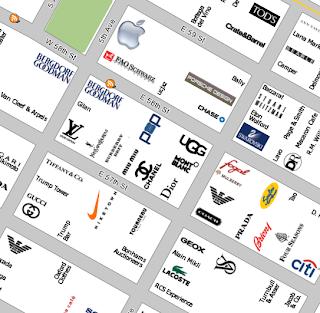 mapa de lojas em NY
