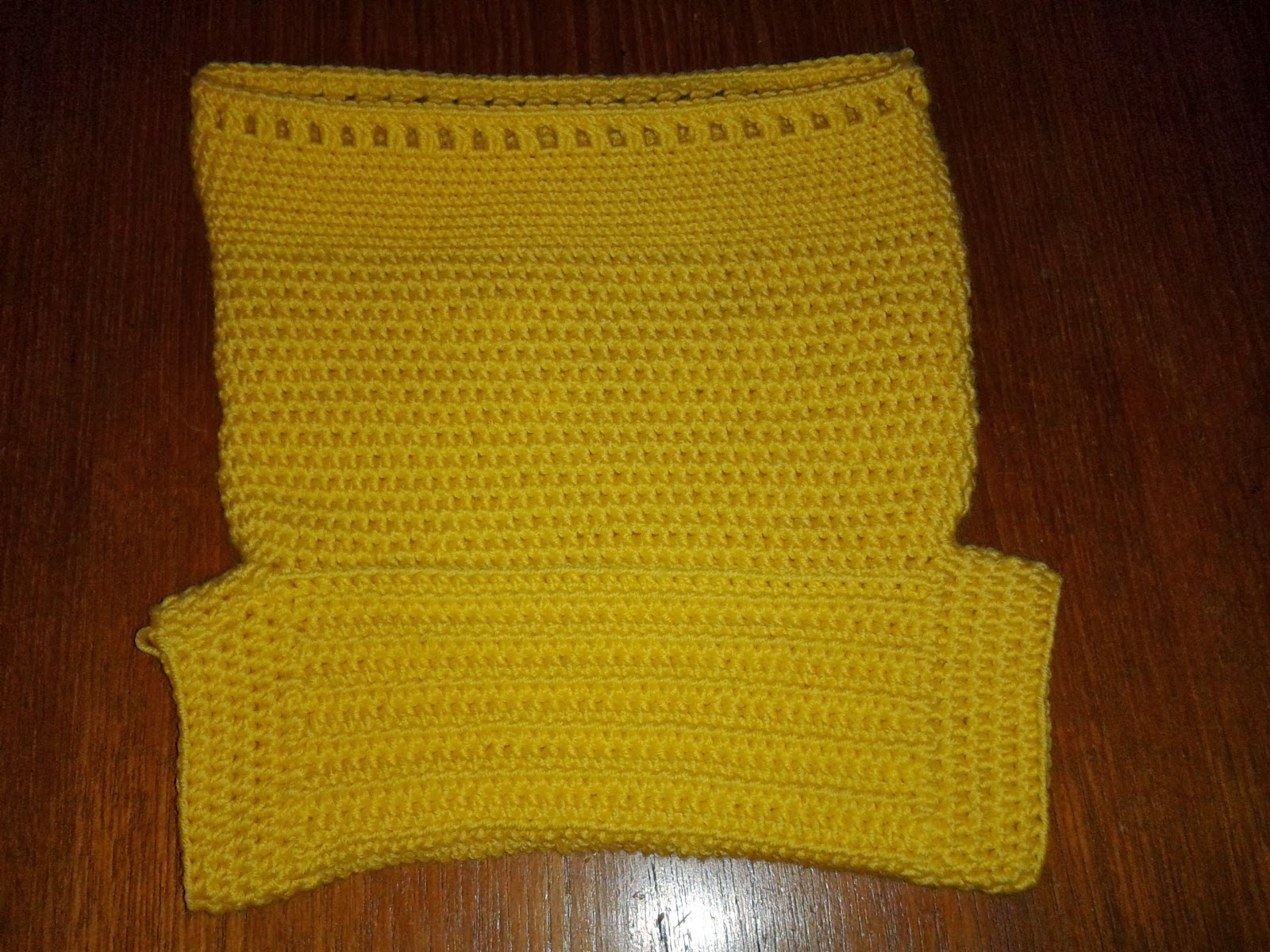 Yellow crochet nappy cover