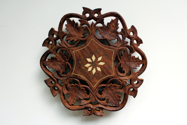 india carved wood trivet