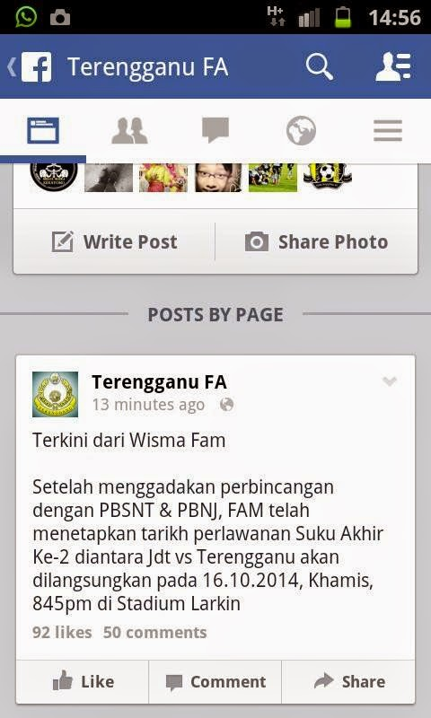 Perlawanan JDT Vs Terengganu Diubah Ke 16 Oktober 2014
