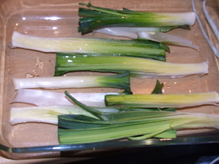 Washed leeks - uncooked