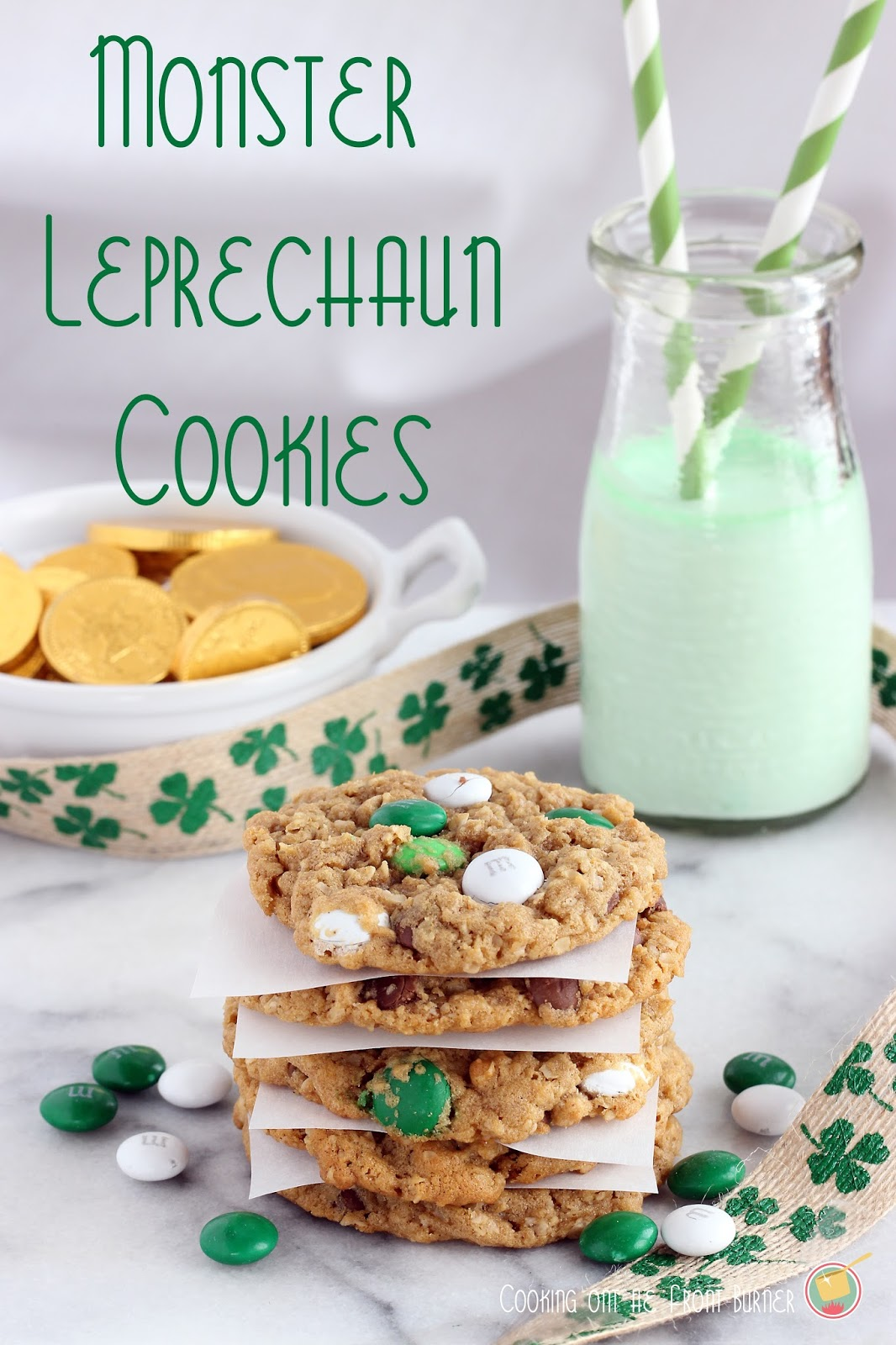 St. Patrick's Day Cookies!! Try these Monster Leprechaun Cookies. If you love Biscoff spread & M&M's, you NEED to make these cookies!!
