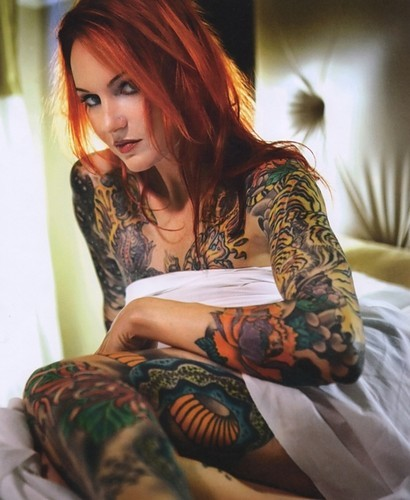 girl tattoo sleeves. Heavily Tattooed Girl In