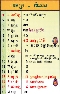 Cambodian calendar, April 2012, beginning of month trough Khmer New Year