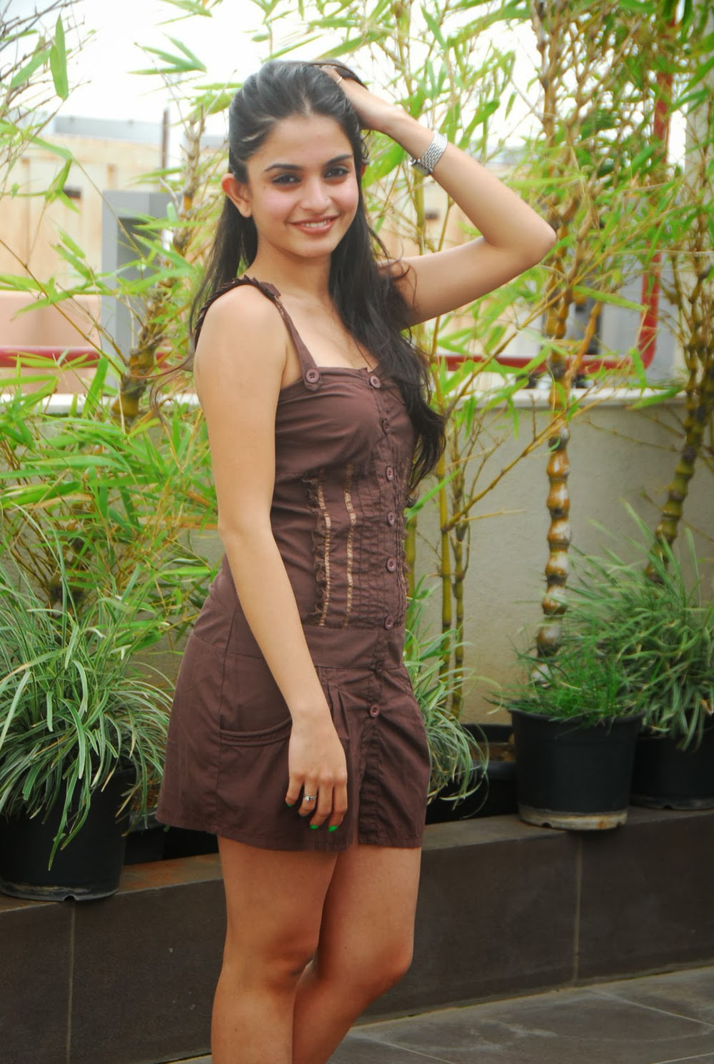 Sheena Shahabadi brown short dress hot images