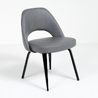 Saarinen Dining Chair in Gray Leather and Wood Legs