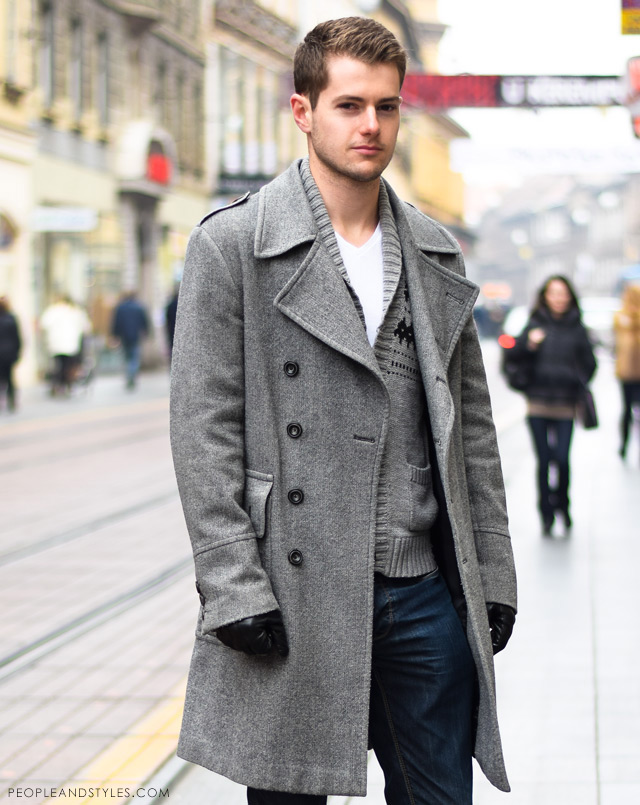 Urban casual winter fashion men, Man's winter cool outfit: grey coat, grey wooly cardigan, white t-shirt and jeans. Guys latest urban street style fashion outfit inspiration.