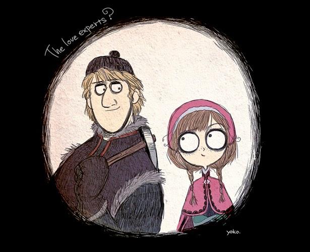 "Anna y Kristoff de ""Frozen"" al estilo Tim Burton"