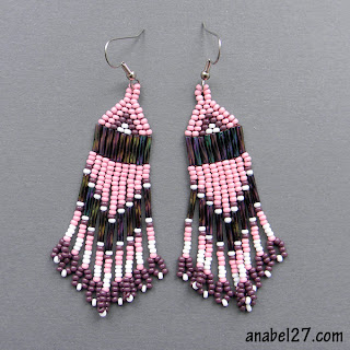 native american seed bead earrings pale pink and purple blog beadwork triba