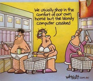 shopping online cartoons