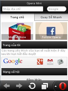 Các phím tắt trong trình duyệt Opera Mini