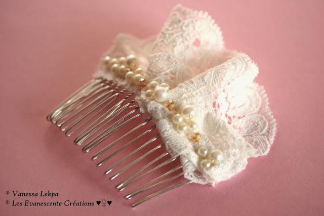 peignes et accessoires pour cheveux long de mariée , en dentelle de calais ivoire et blanc, brodé à la main de perles perles et de cristaux par la Créatrice Vanessa Lekpa