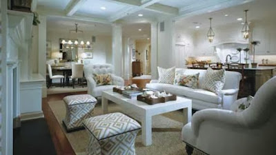 Athertyn at Haverford Resrever condo floor plan model showing living room and dining room with foyer