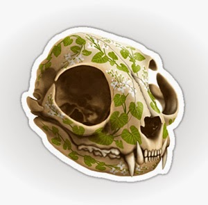 cat skull sticker