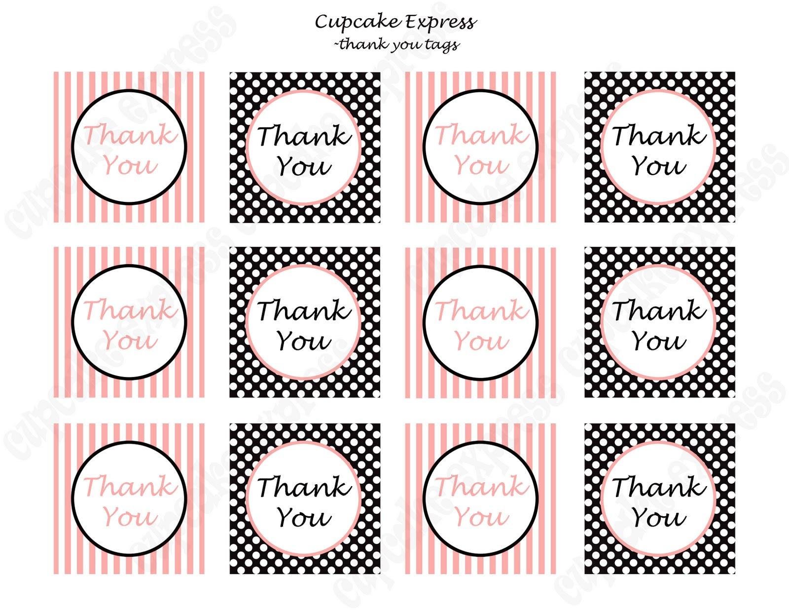 This is a graphic of Playful Thank You Tags Printable