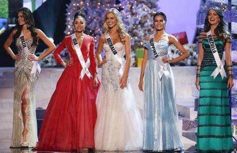 Miss Universe 2012 Top 5: Gabriela Markus (Brazil), Olivia Culpo (USA), Renae Ayris (Australia), Janine Tugonon (Philippines) and Irene Esser (Venezuela)