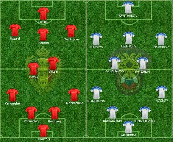 FIFA World Cup 2014 - Russia Vs Beligum  - Starting Lineup