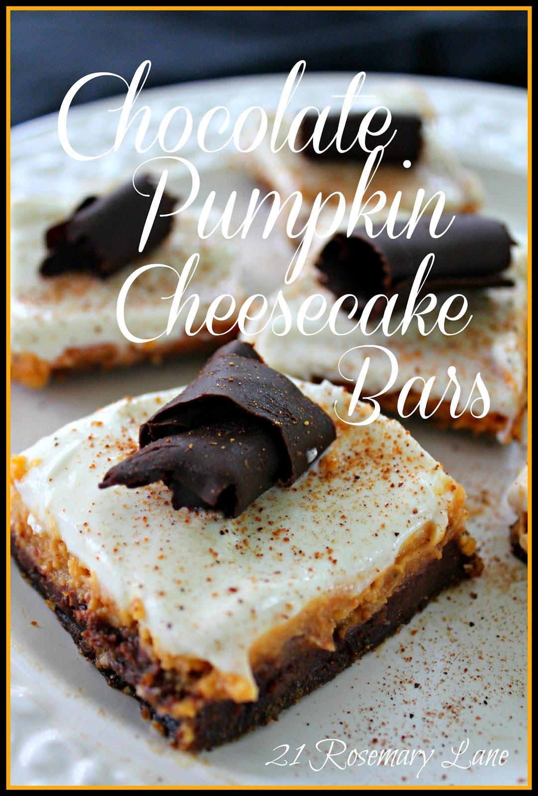 21 Rosemary Lane: Chocolate Pumpkin Cheesecake Bars