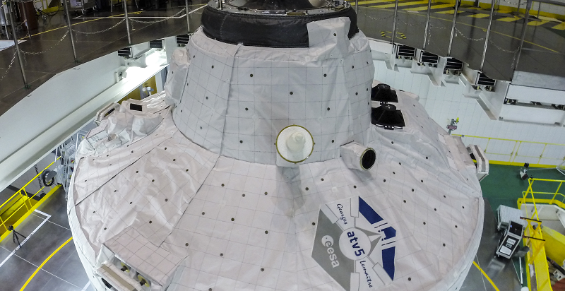 ATV-5 on its Ariane 5 launcher in the BAF (Final Assembly Building), on 11 July 2014. Credit: ESA–M. Pedoussaut, 2014