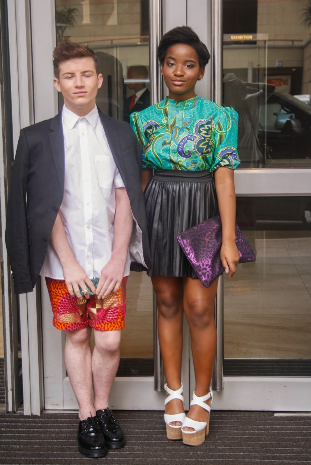 josh lubinsky and khensani mohlatlole dressed in david tlale