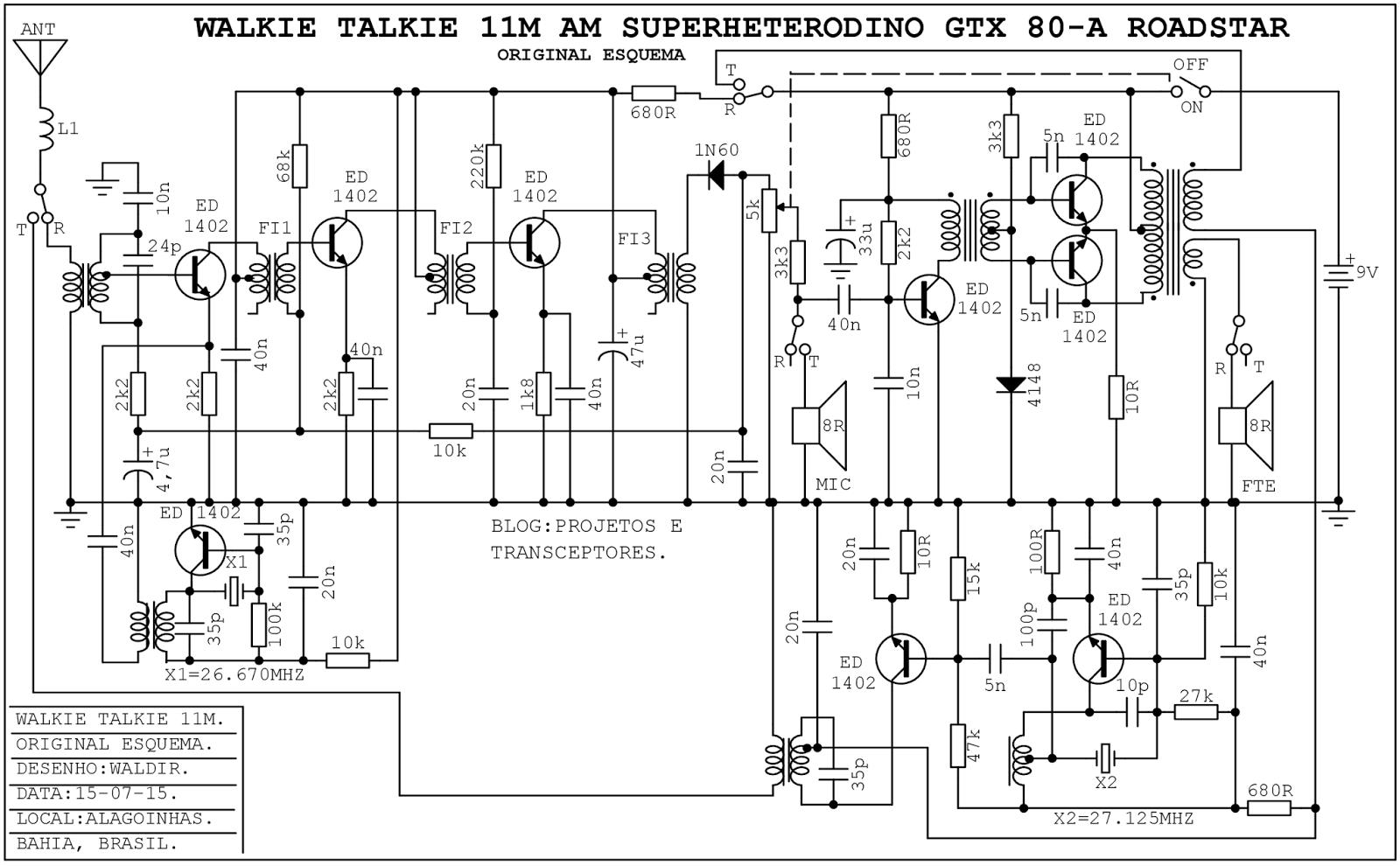 projetos e transceptores   walkie talkie roadstar am 11