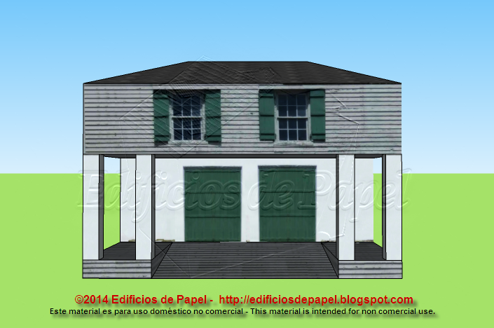 Casa colonial en maqueta de papel