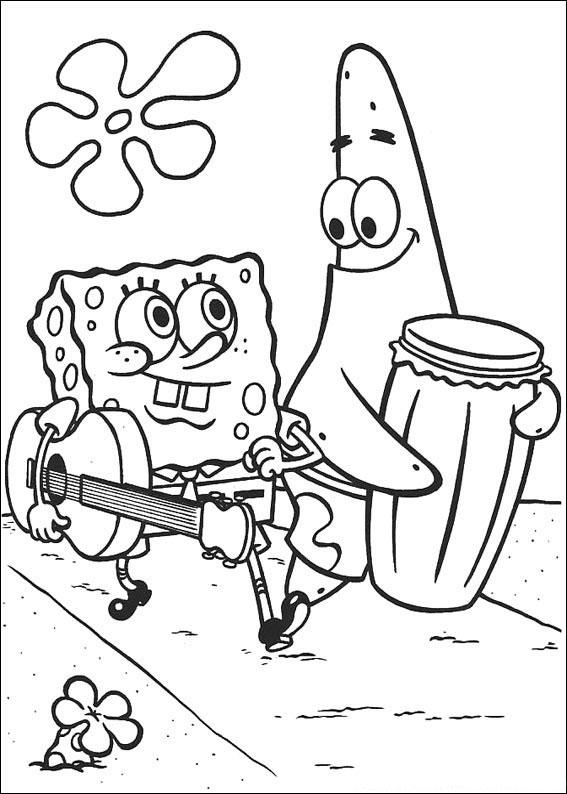 Desenho como desenhar Bob esponja calsa quadrada com violão para copiar pintar e colorir