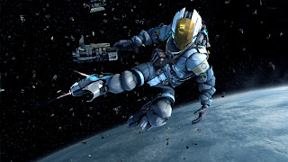This is a Dead Space 3 EVA suit, where you can fly in space and have oxygen