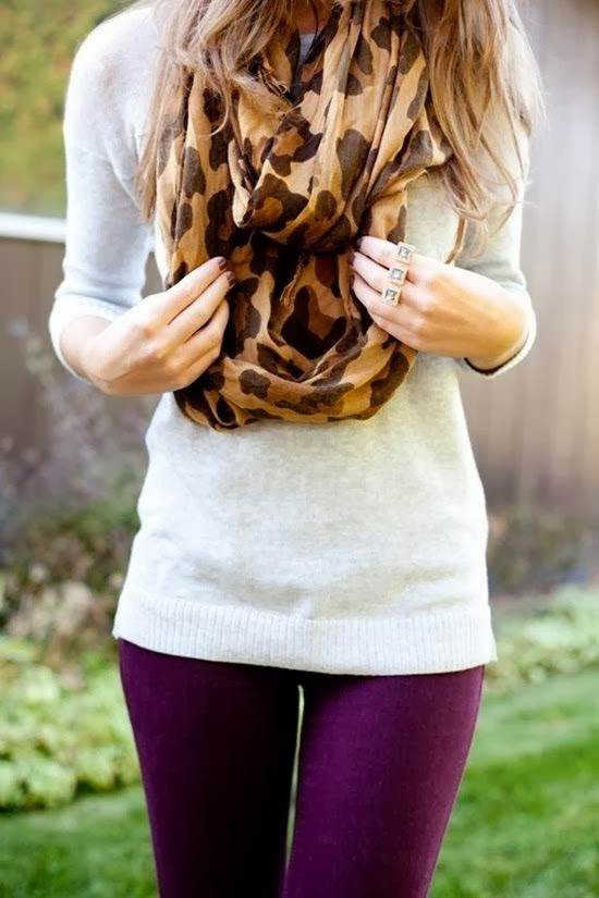 Amazing Combination - Cheetah Design Shawl, White Sweater and Purple Tights