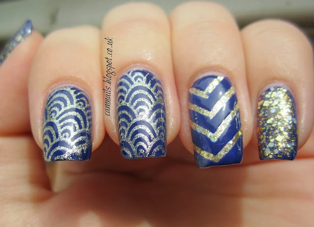 blue-gold-stamping-striping-art-deco-chevron-manicure-hare-polish-nails