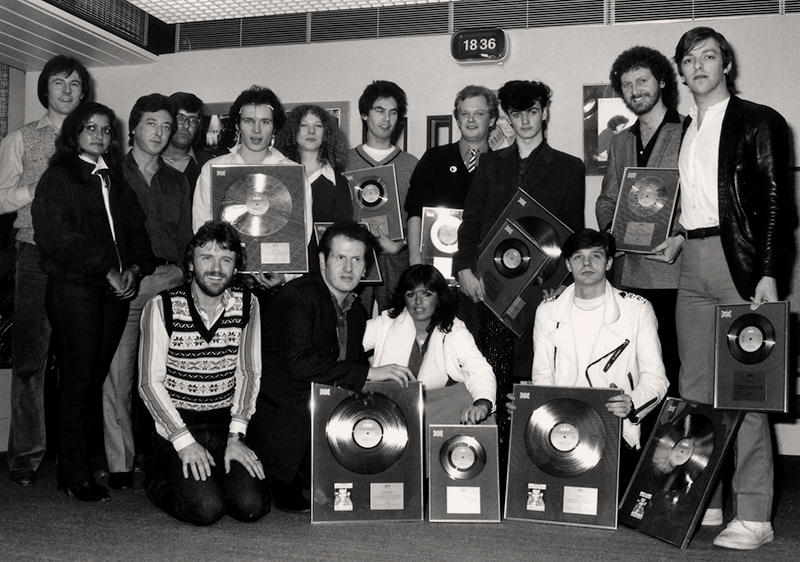 Adam and the Ants at the presentation of their gold record at CBS for Kings of the Wild Frontier, 1980