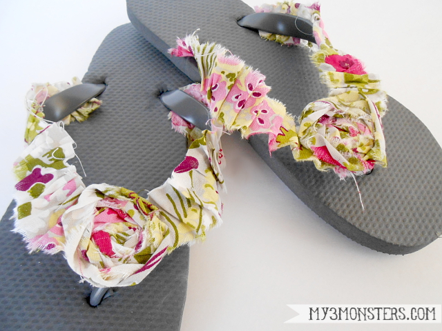 Fabric strip flip flops