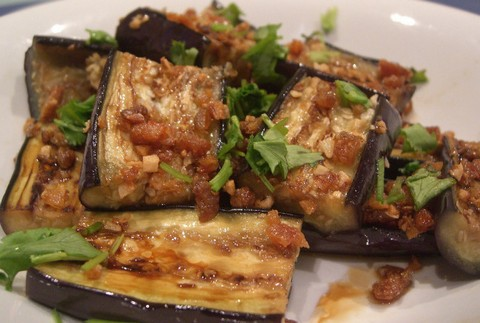 Grilled Eggplants with Garlic and Crispy Shrimps