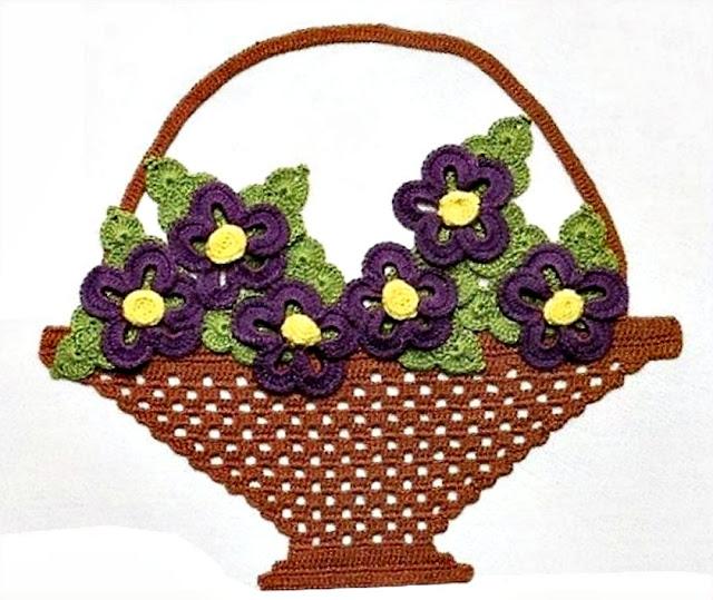 flores em croche passo-a-passo nas cestas com croche com receitas