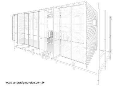 Dibujo en perspectiva del montaje de la casa de Brasil