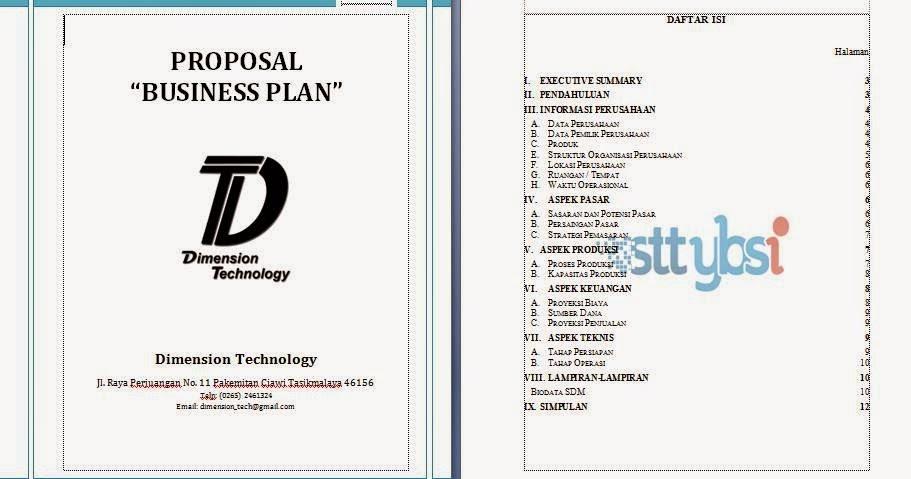 Contoh Proposal Bisnis : Business Plan | Lepas Terbang