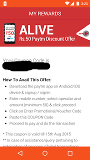 Alive app paytm discount offer