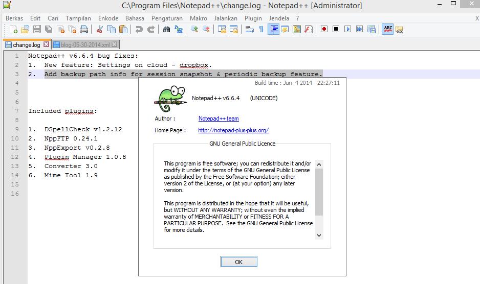 Notepad ++ 6.7.4 Tebaru 2015 Gratis screenshot by www.jembercyber.blogspot.com