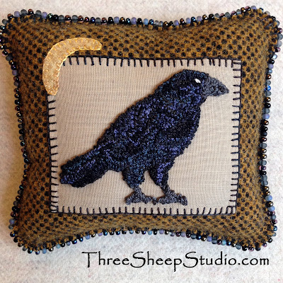Punch Needle Crow Charm Cushion by Rose Clay at ThreeSheepStudio.com