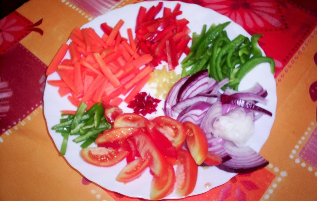 verduras cortadas en juliana