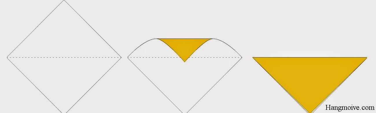 Bước 1: Gấp đôi tờ giấy lại theo chiều từ trên xuống dưới ta được một tam giác cân ngược.
