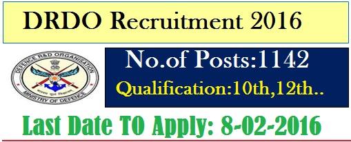 DRDO jobs 2016