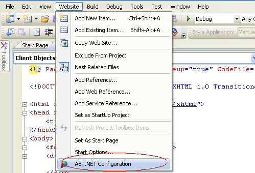 Asp.Net membership provider website configuration