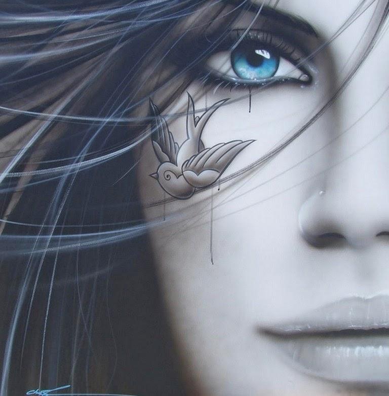 pintura-al-oleo-de-rostro-femenino-fotografía