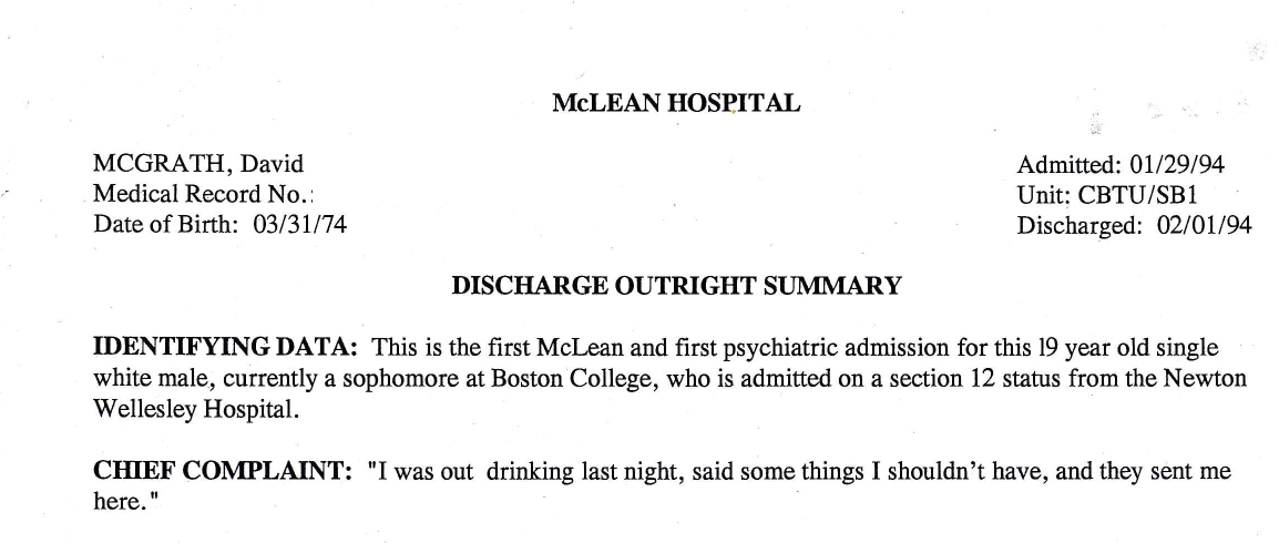 My Life Scanned: Mclean Hospital Discharge Summary (1/29/94 – 2/1/94)
