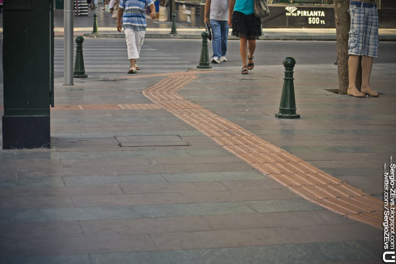 path for blind, street, sidewalk, Antalya, Turkey,