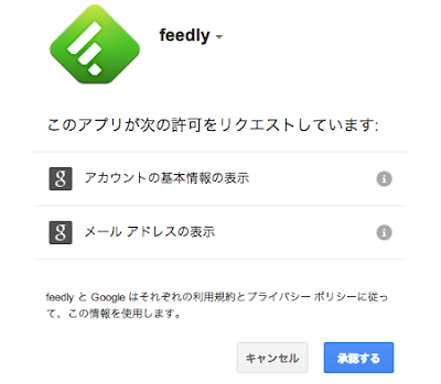 feedly 承認ページ