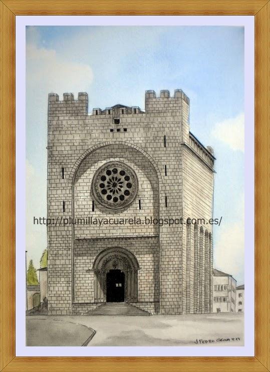 Portomarin, iglesia, plumilla, acuarela, dibujo, tecnica mixta, camino de santiago