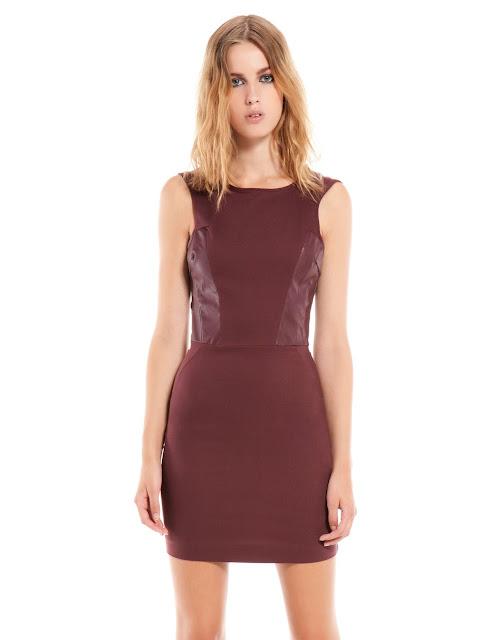 kolsuz klasik kesim kısa elbise, bordo renk elbise, ofis elbisesi