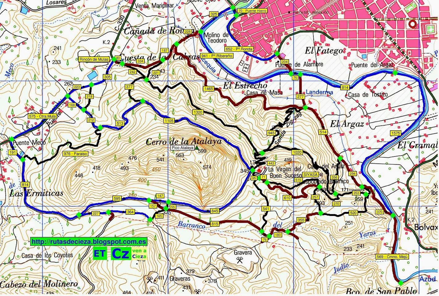 Cieza-Atalaya, 2014 Cnos con distancias con mapa
